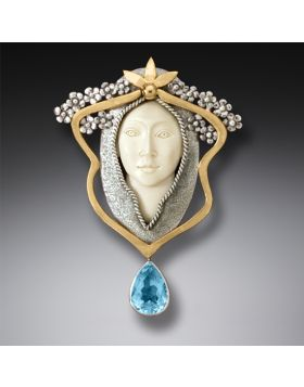 Mammoth Ivory Pin or Pendant with Blue Topaz and 14kt Gold Fill - Art Nouveau Woman