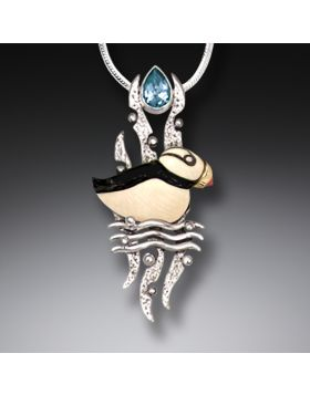 Mammoth Tusk Ivory Puffin Necklace, 14kt Gold Fill, Handmade Silver, and Blue Topaz - Puffin