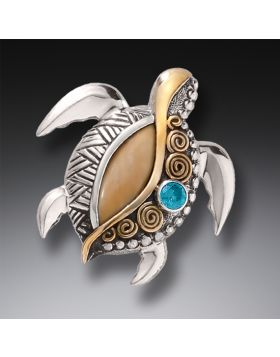 Silver Sea Turtle Pin or Pendant with Mammoth Tusk Ivory, Blue Topaz, and 14kt Gold Fill - Jeweled Turtle
