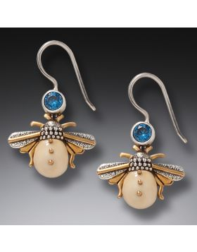 14kt Gold Fill Blue Topaz Mammoth Tusk Silver Bee Earrings, Handmade – Bees