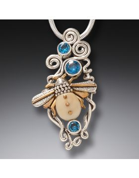 Mammoth Ivory and Blue Topaz Silver Bee Pendant - Morning Bee