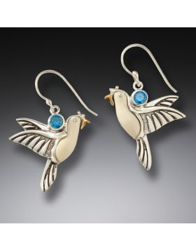 Ancient mammoth ivory dove earrings - Dove Earrings