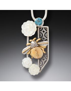 Ancient Mammoth Ivory Bee and White Rose Pendant - Rose Garden