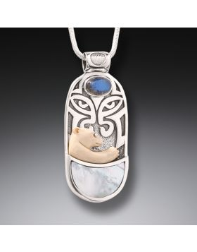 Ancient Mammoth Polar Bear Pendant with Labradorite and Mother of Pearl