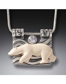 Mammoth Ivory Polar Bear Necklace Silver with Rainbow Moonstone - The Seeker