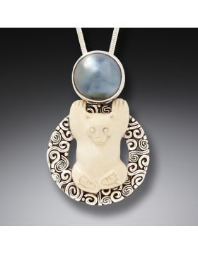 Ancient Ivory Polar Bear Pendant Mabe Pearl Necklace, Handmade Silver - Bear