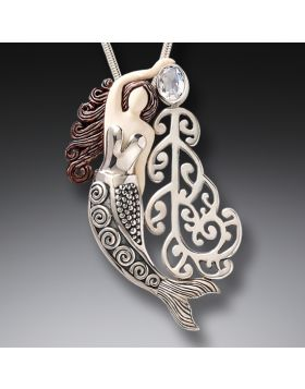 Ancient Mammoth Ivory and Moonstone Silver Mermaid Pendant - Koru Mermaid