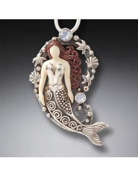 Ancient Mammoth Ivory and Silver Mermaid Pendant - Mermaid Treasure