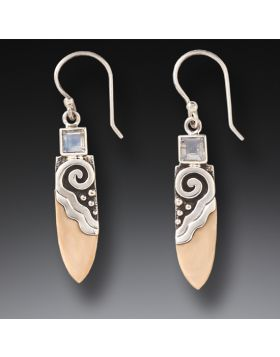 Fossilized Walrus Ivory, Silver, Rainbow Moonstone Earrings - Life Force