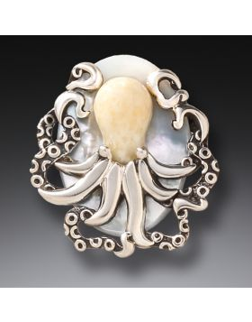 Fossilized Walrus Ivory Octopus Pendant - Octopus Treasure