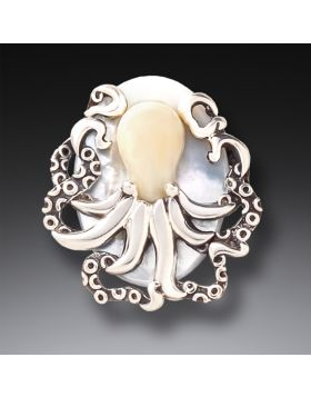 Fossilized Mammoth Ivory Octopus Pendant - Octopus Treasure