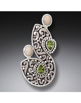 Fossilized Walrus Ivory and Peridot Pin or Pendant, Handmade Silver - Integration