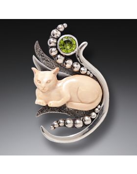 Mammoth Ivory Cat Pendant Silver with Peridot, Handmade - Cat in the Grass
