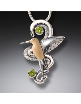 Fossilized Walrus Tusk Hummingbird Necklace Silver with Peridot, Handmade Silver - Hummingbird Flight