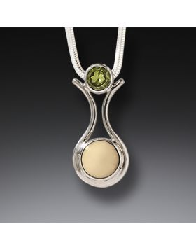 Fossilized Walrus Ivory Peridot Pendant Necklace, Handmade Silver - Amphora