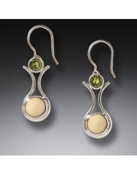 Fossilized Walrus Ivory Peridot Drop Earrings , Handmade Silver - Amphora