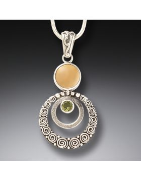 Handmade Silver Mammoth Ivory Necklace with Peridot - Ripples
