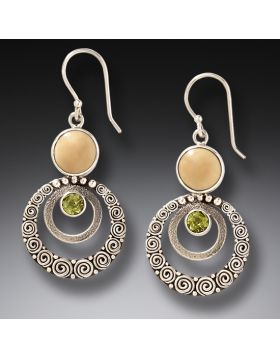 Mammoth Ivory Jewelry Handmade Silver Dangling Earrings - Ripples