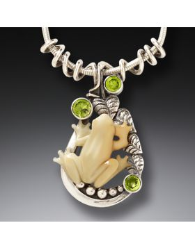 Mammoth Tusk Ivory Handmade Silver Frog Necklace - Tree Frog