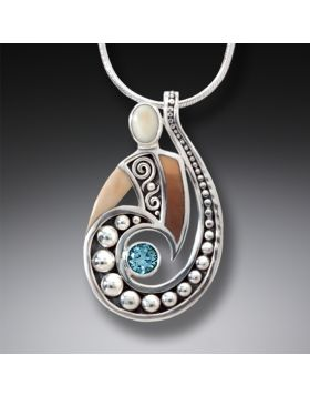 Fossilized Walrus Tusk Silver Spiral Pendant with Blue Topaz, Handmade - Spiral Power