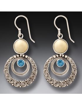Walrus Ivory Blue Topaz Silver Earrings, Handmade - Ripples