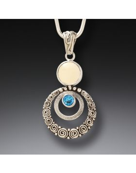Mammoth Ivory Jewelry Silver Blue Topaz Pendant Necklace, Handmade - Ripples