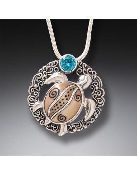 Fossilized Walrus Tusk and Blue Topaz Silver Turtle Pendant - Ocean Dreams