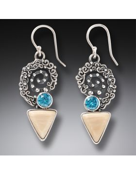 Ancient Mammoth Ivory Silver Spiral Earrings with Blue Topaz - Winds of Change