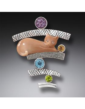 Fossilized Walrus Ivory Cat Pendant Silver with Amethyst, Citrine, Blue Topaz, and Peridot - Cat with Gems