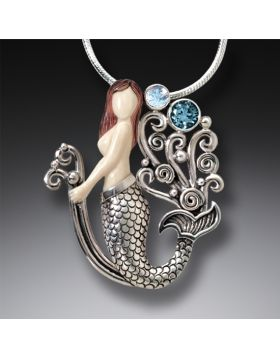 Mammoth Ivory Jewelry Silver Mermaid Necklace with Rainbow Moonstone and Blue Topaz - Mermaid Joy