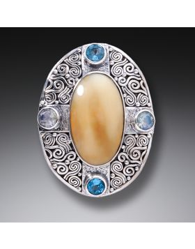 Fossilized Walrus Tusk Ivory Aura Necklace with Rainbow Moonstone and Blue Topaz - Auric Dance