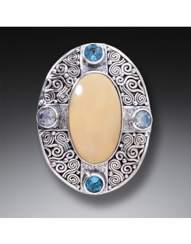 Mammoth Ivory Tusk Aura Necklace with Rainbow Moonstone and Blue Topaz - Auric Dance