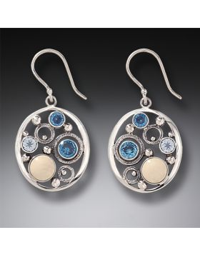 Mammoth Ivory Tusk Rainbow Moonstone Earrings with Blue Topaz - Arctic Dreams