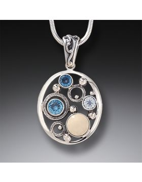 Mammoth Ivory Tusk Rainbow Moonstone Pendant Necklace with Blue Topaz - Arctic Dreams