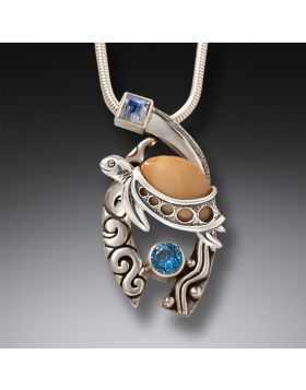 Ancient Walrus Ivory,  Silver, Topaz Turtle Pendant - Wave Rider