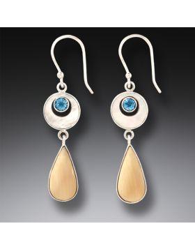 Mammoth Ivory Jewelry Blue Topaz Teardrop Earrings in Handmade Silver - Arctic Rain