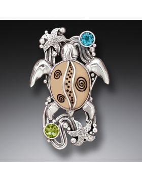 Silver Sea Turtle Mammoth Ivory Pin or Pendant with Peridot and Blue Topaz - On the Beach