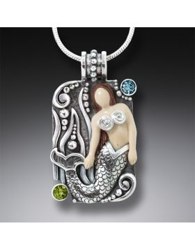 Mammoth Tusk Ivory Silver Mermaid Pendant with Blue Topaz, Handmade - Mermaid Waves
