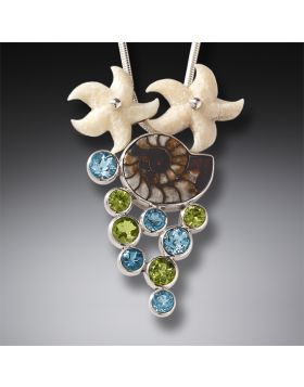 Fossilized Walrus Tusk Moroccan Ammonite Starfish Necklace Silver with Peridot and Blue Topaz - Beachcombing