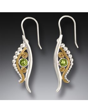 Handmade Silver Egyptian Eye Earrings with Peridot and 14kt Gold Fill -Eye of Horus