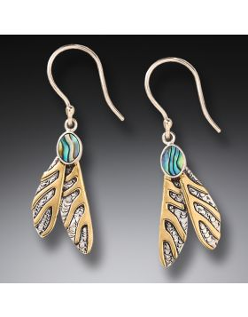 Silver and  Paua Dragonfly Wing Earrings - Dragonfly Wings