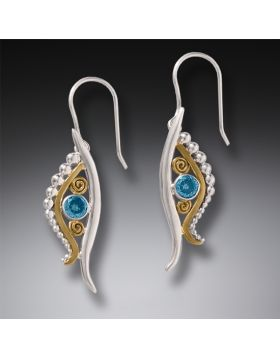 Handmade Silver Egyptian Eye Earrings with Blue Topaz and 14kt Gold Fill - Eye of Horus