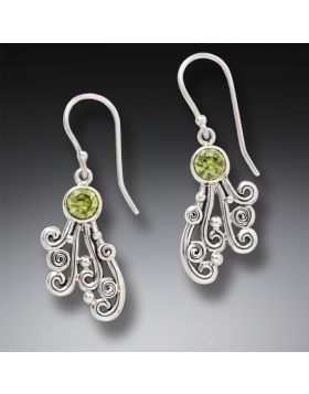 Handmade Unique Silver Jewelry Ocean Earrings with Peridot Drop - Spray