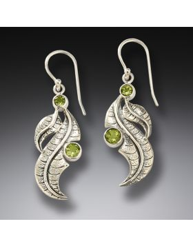 Silver and peridot leaf earrings - Peridot Leaves