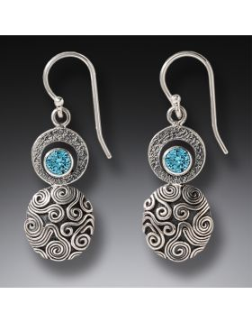 Handmade Silver Blue Topaz Earrings - Dew Drop