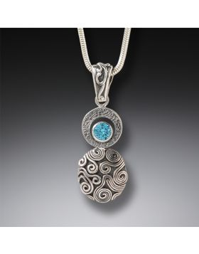 Handmade Silver Blue Topaz Drop Necklace - Dew Drop