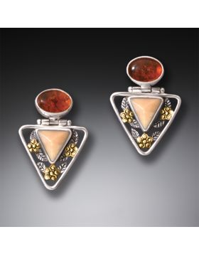 Fossilized Ivory Amber Triangle Earrings