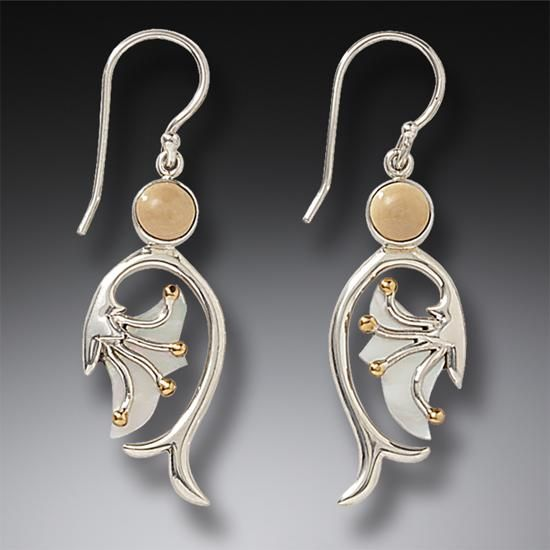 Mammoth Jewelry Silver Mother Of Pearl Earrings 14kt Gold Fill B Emergence