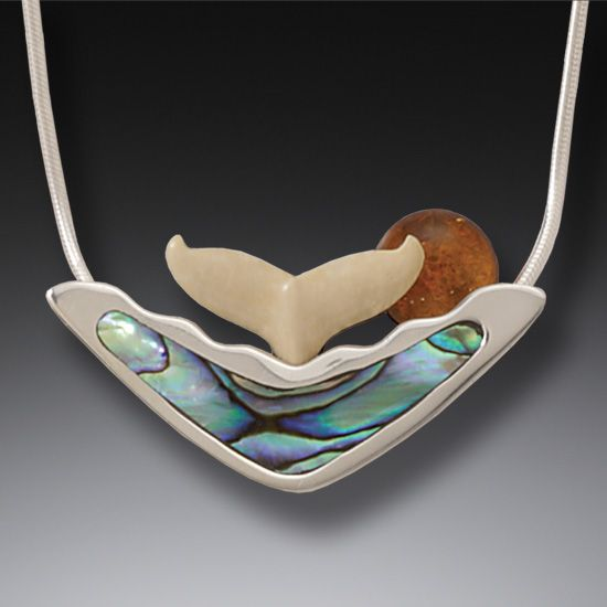 Ancient Ivory Silver Whale Tail Necklace Paua Jewelry with Amber, Handmade  Silver - Sunset Spray
