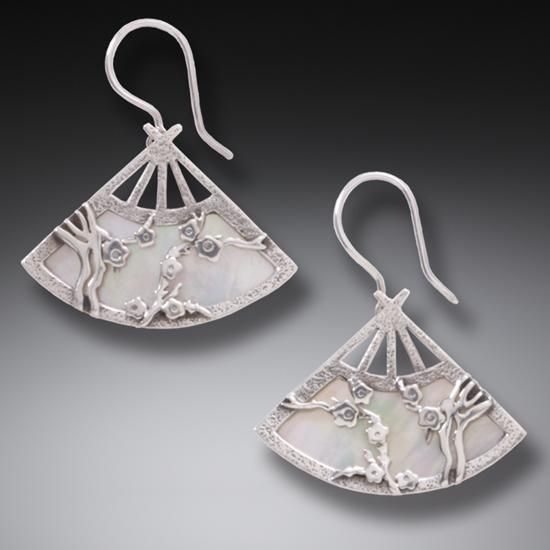 Handmade Geisha Jewelry Silver Fan Earrings B Onica By Collection